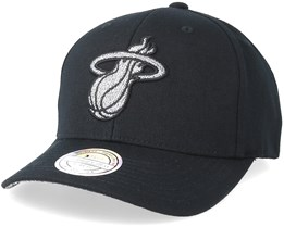 Miami Heat Melange Logo 110 Black Adjustable - Mitchell & Ness