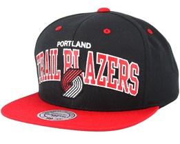 Portland Trail Blazers Team Arch Black/Red Snapback - Mitchell & Ness