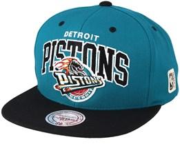 Detroit Pistons Team Arch Teal/Black Snapback - Mitchell & Ness