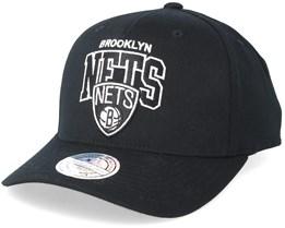 Brooklyn Nets Team Arch Pinch Panel Black 110 Adjustable - Mitchell & Ness
