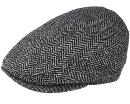 Jordan 100% Virgin Wool Black Herringbone Flat Cap - MJM Hats
