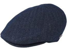Broker Wool Mix Dk. Blue Herringbone Flat Cap - MJM Hats