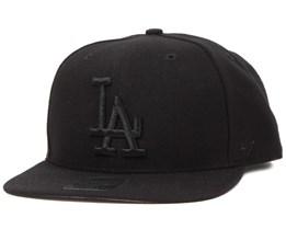 LA Dodgers Sure Shot Black/Black Snapback - 47 Brand