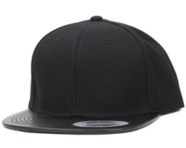 Leather Visor Black Snapback - Yupoong