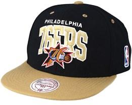 Philadelphia 76ers Team Arch Black/Sand Snapback - Mitchell & Ness