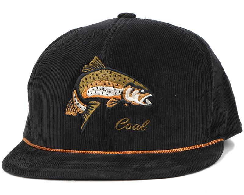 Wilderness fish black snapback coal caps for Fishing snapback hats
