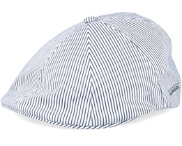 Stretch Ripley Stripe White/Navy Flat Cap - Kangol