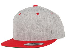 Heather Grey/Red Snapback - Yupoong