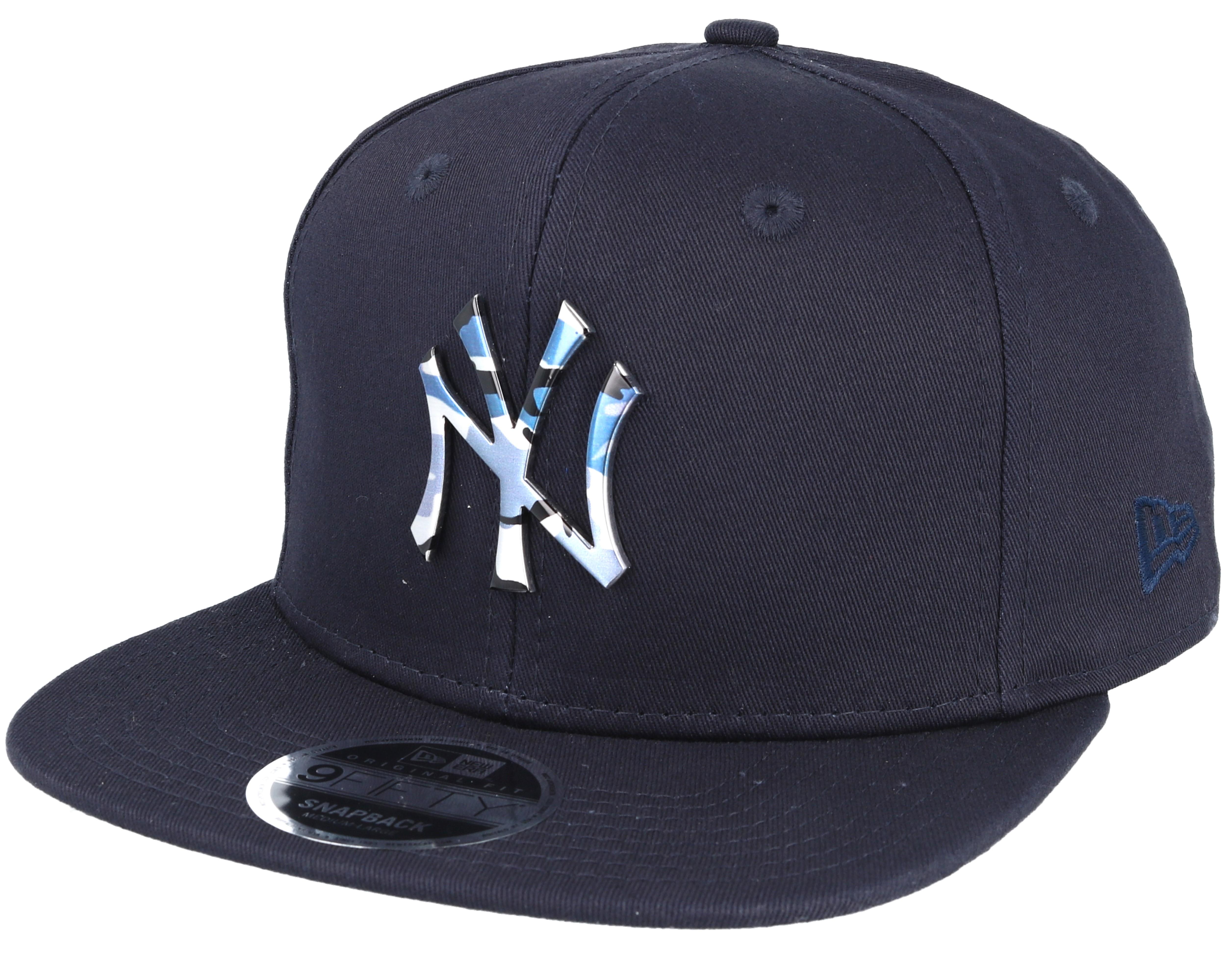 new york yankees camo metal logo navy snapback new era cap. Black Bedroom Furniture Sets. Home Design Ideas
