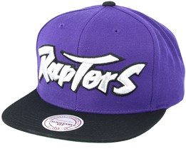 Toronto Raptors XL Logo 2 Tone Black/Purple Snapback - Mitchell & Ness