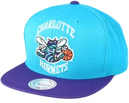 Charlotte Hornets XL Logo 2 Tone Teal/Purple Snapback - Mitchell & Ness