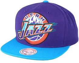 Utah Jazz XL Logo 2 Tone Blue/Purple Snapback - Mitchell & Ness