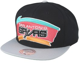 San Antonio Spurs XL Logo 2 Tone Grey/Black Snapback - Mitchell & Ness