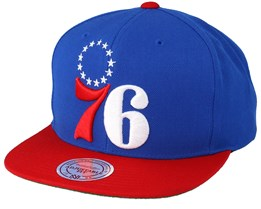 Philadelphia 76ers XL Logo 2 Tone Red/Blue Snapback - Mitchell & Ness