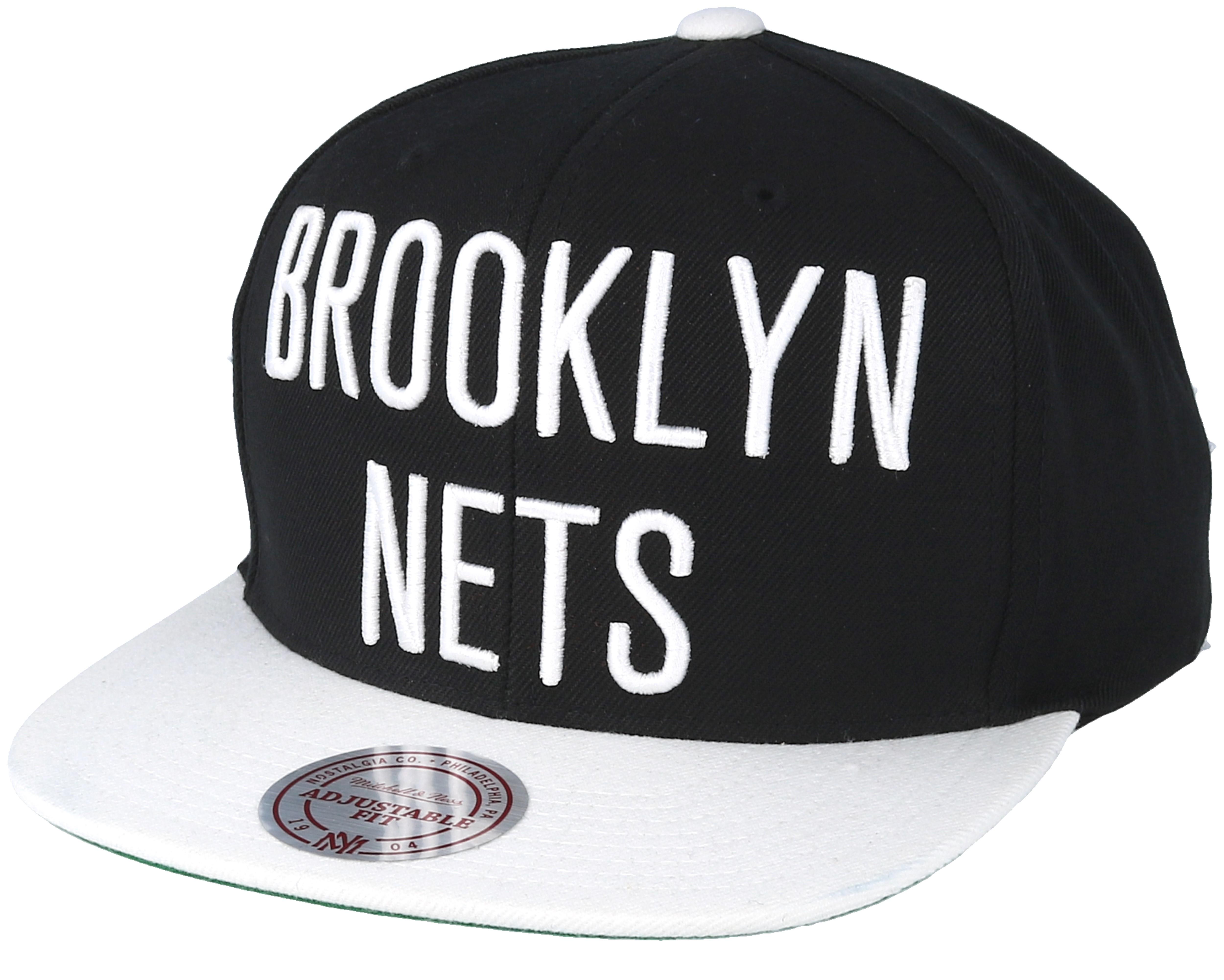 Brooklyn Nets XL Logo Black Snapback - Mitchell   Ness caps ... b9b42a5ea6d