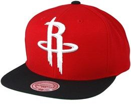 Houston Rockets XL Logo 2 Tone Black/Red Snapback - Mitchell & Ness