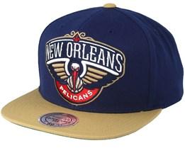 New Orleans Pelicans XL Logo 2 Tone Navy/Khaki Snapback - Mitchell & Ness