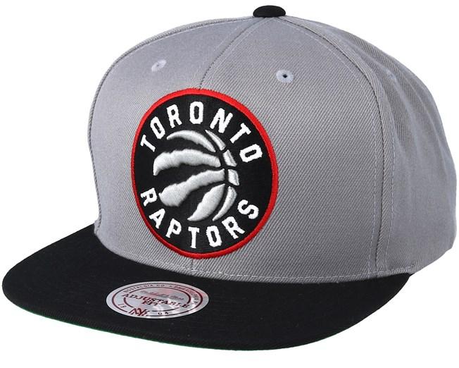 buy online 5a185 113f5 Toronto Raptors XL Logo 2 Tone Black Grey Snapback - Mitchell   Ness