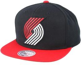 Portland Trail Blazers XL Logo 2 Tone Red/Black Snapback - Mitchell & Ness
