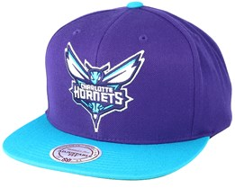 Charlotte Hornets XL Logo 2 Tone Purple/Teal Snapback - Mitchell & Ness