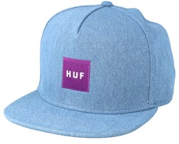 Denim Box Logo Bleached Denim Snapback - Huf