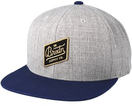 Bedford Light Heather Grey/Navy Snapback - Brixton