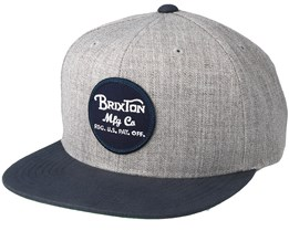 Wheeler Light Heather Grey/Navy Snapback - Brixton