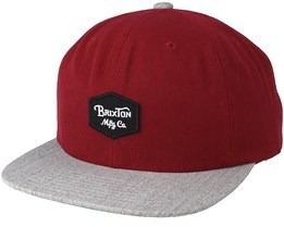 Trio Burgyndy/Light Heather Grey Snapback - Brixton