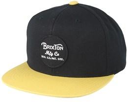 Wheeler Black/Gold Snapback - Brixton