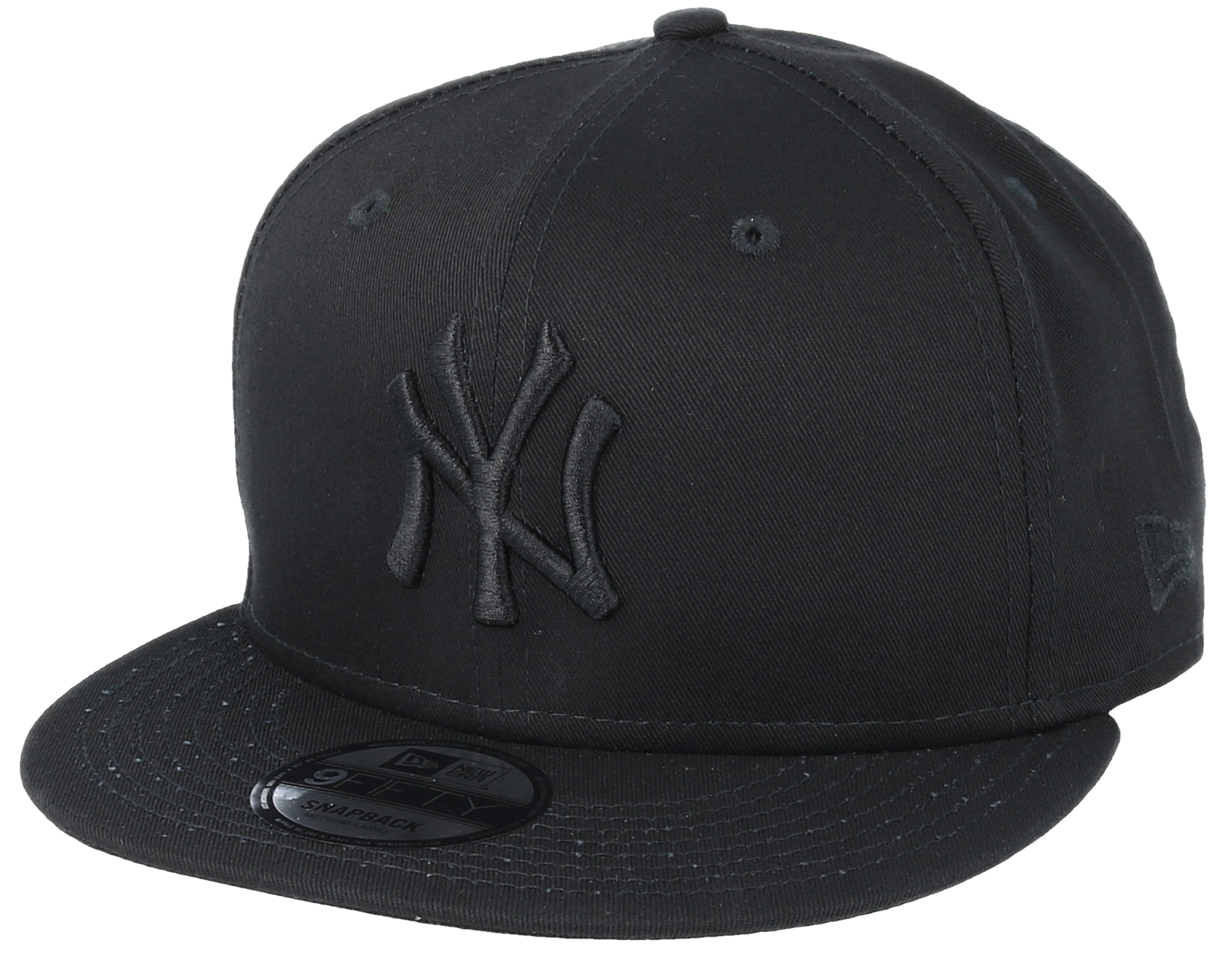 ny yankees black black 9fifty snapback new era cap. Black Bedroom Furniture Sets. Home Design Ideas