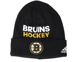 Boston Bruins Locker Room Cuffed Black Beanie - Adidas