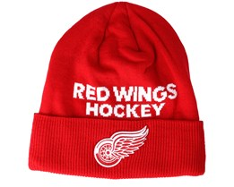 Detroit Red Wings Locker Room Cuffed Red Beanie - Adidas