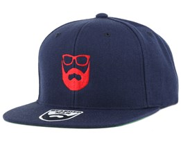 Logo Navy/Red Snapback - Bearded Man