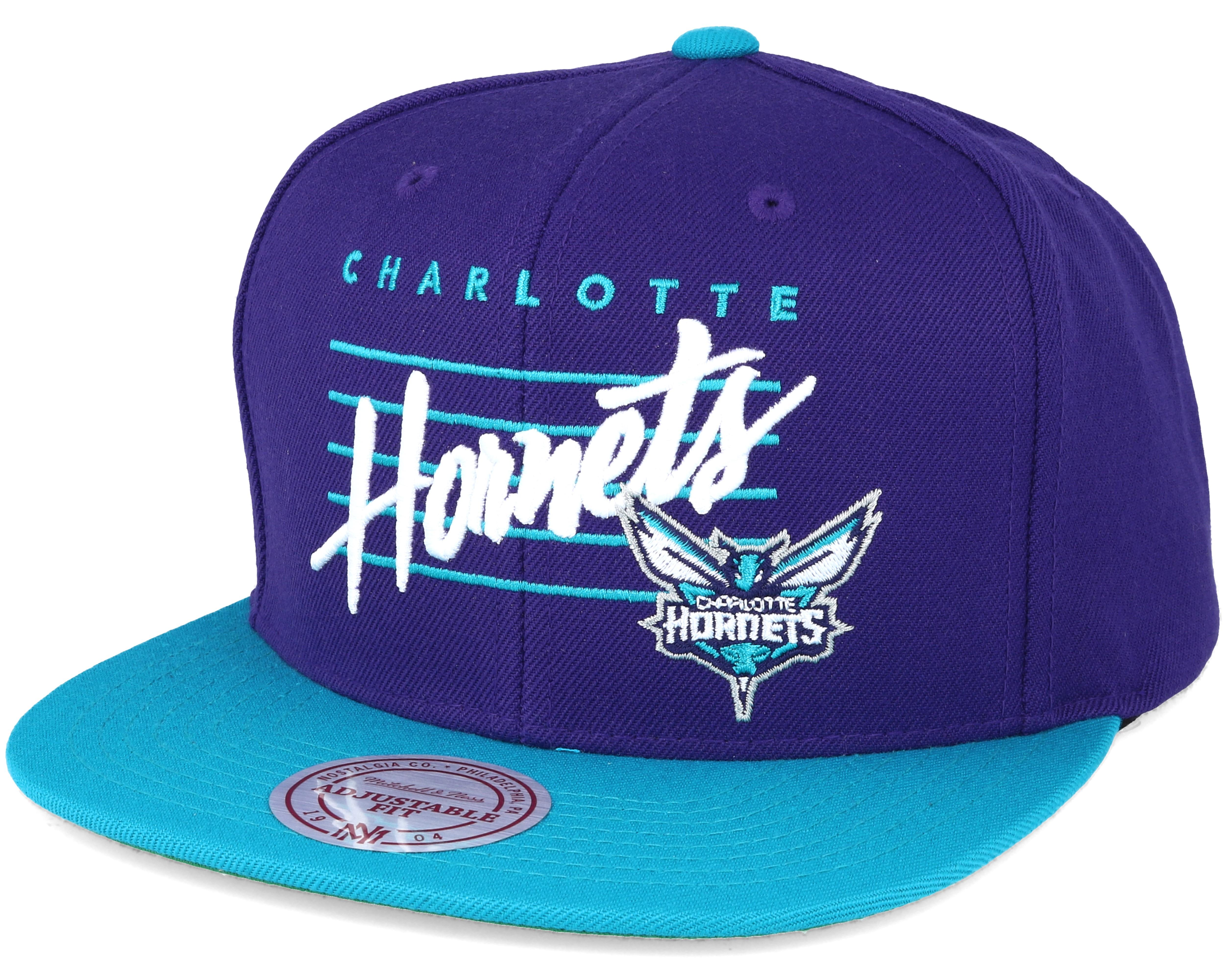 Charlotte Hornets Cursive Script Logo Purple Snapback ...