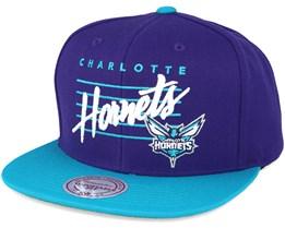 Charlotte Hornets  Cursive Script Logo Purple Snapback - Mitchell & Ness