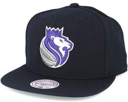 Sacramento Kings Wool Solid 2 Black Snapback - Mitchell & Ness