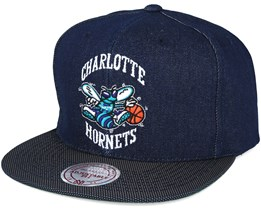 Charlotte Hornets Raw Denim 3T PU Snapback - Mitchell & Ness