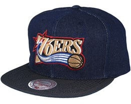 Philadelphia 76ers Raw Denim 3T PU Snapback - Mitchell & Ness
