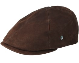 Leather Sixpence Brown Flat Cap - City Sport