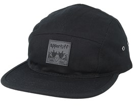5 Panel Black Strapback - Appertiff
