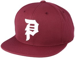 Dirty 6 Panel Burgundy Snapback - Primitive Apparel