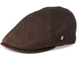 Leather Brown Flat Cap - City Sport
