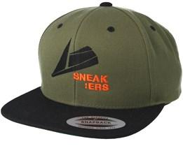 Black Logo Olive Snapback - Sneakers