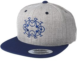 Bike Circle Heather Navy Snapback - Bike Souls
