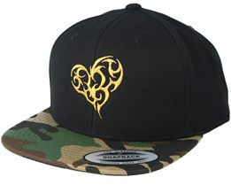 Tribal Heart Gold Black/Camo Snapback - Tattoo Collective