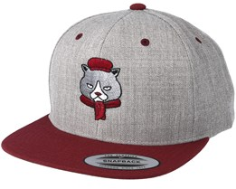 Cat With Scarf Grey/Maroon Snapback - Fat Cat