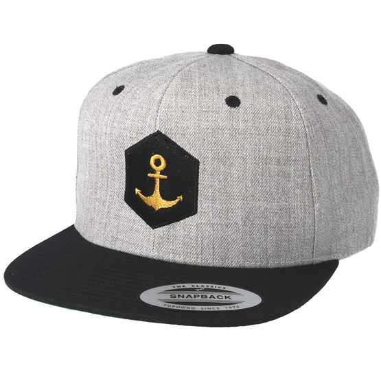 hexagon anchor heather grey black snapback jack anchor. Black Bedroom Furniture Sets. Home Design Ideas