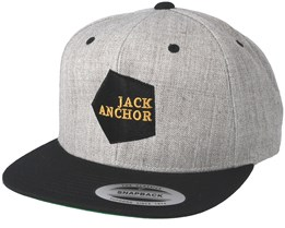 Polygon Heather Grey Black Snapback - Jack Anchor