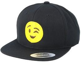 Emoji Wink Black Snapback - Iconic