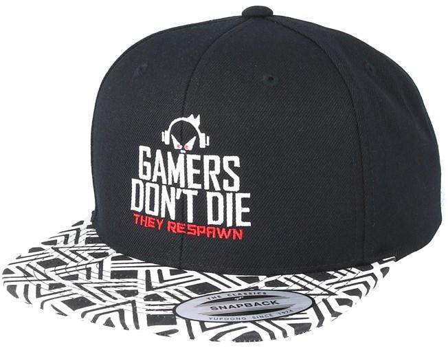 Gamers Don t Die Geometric Black Snapback - Gamerz lippis - Hatstore.fi 402b453f7a